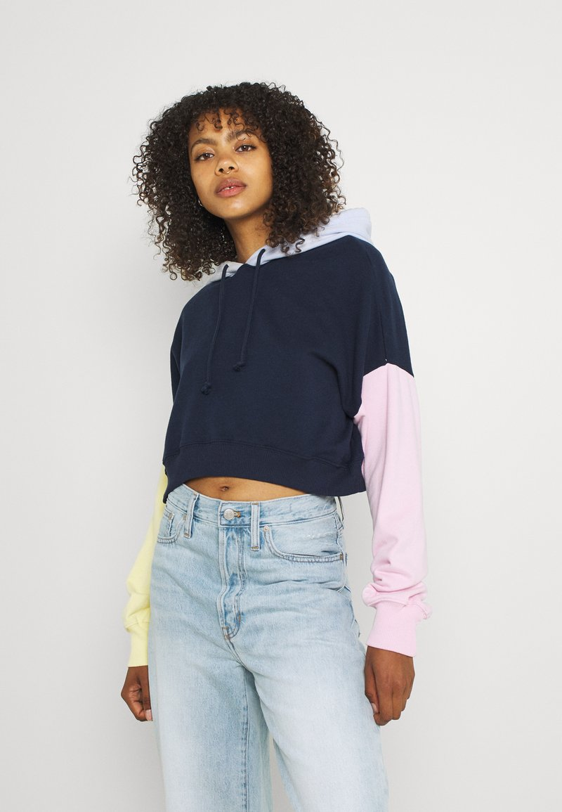 Hollister Co. - COLORBLOCKED CROPPED - Felpa - navy
