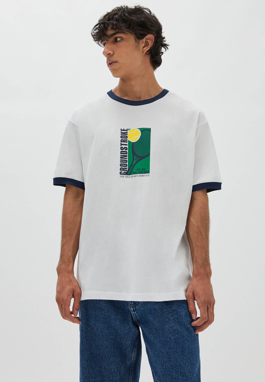 Herren WEISSEN RIPPEN MIT ABBILDUNG - T-Shirt print