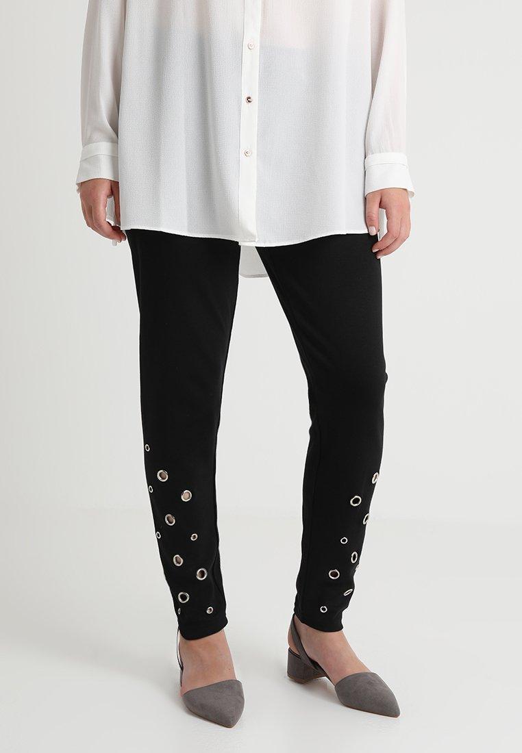 Urban Classics Curvy - LADIES EYELET - Leggings - Trousers - black