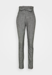 Vero Moda Tall - VMEVA LOOSE PAPERBAG AMY PANT - Trousers - black/houndstooth grey/white - 4