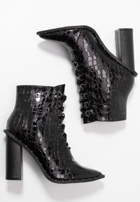 Missguided - STUDDED CROC LACE UP  - High heeled ankle boots - black - 3