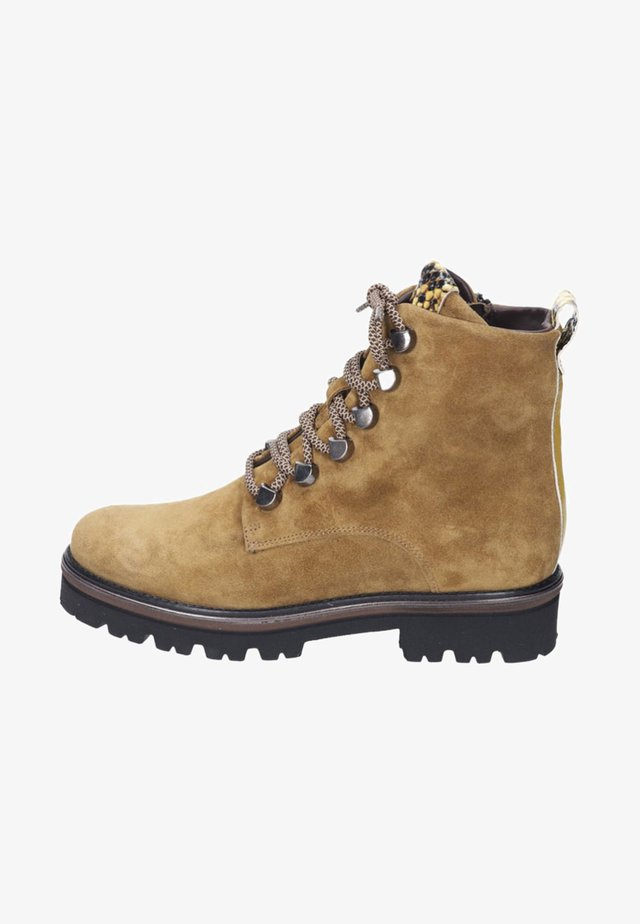 Lace-up ankle boots - mustard/dark