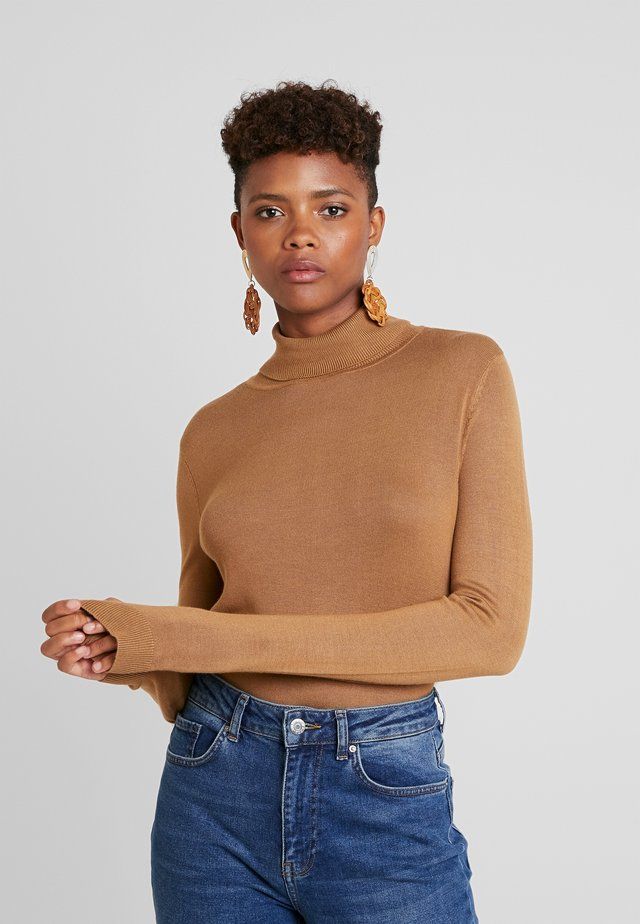VIBOLONIA KNIT ROLLNECK TOP-NOO - Sweter - tigers eye