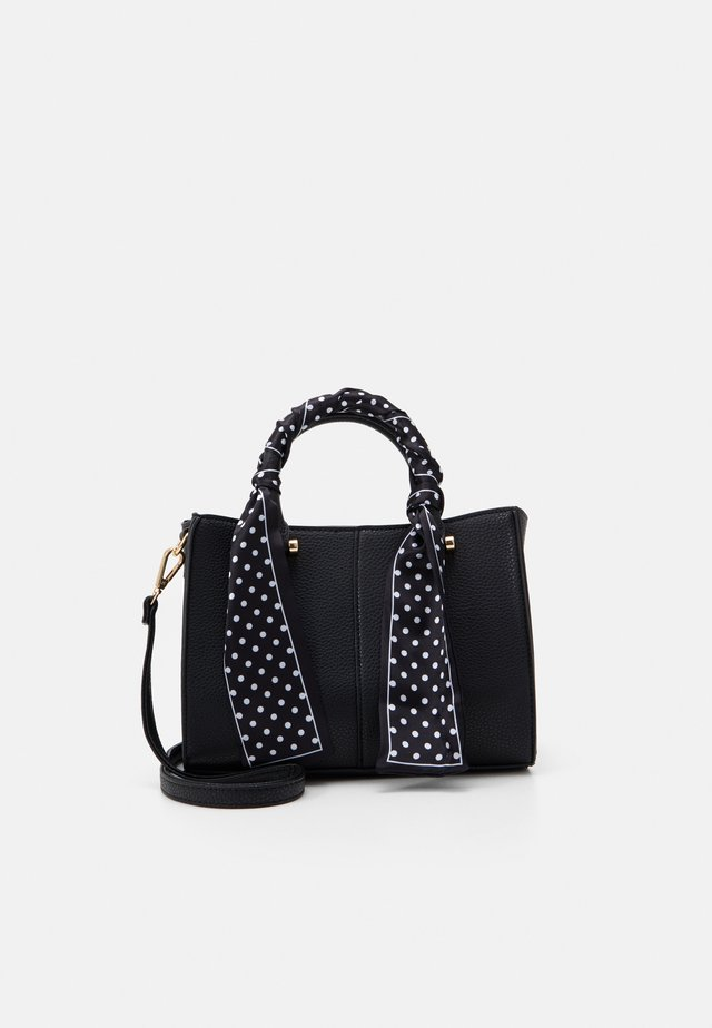 ROMAN SCARF HANDLE MINI TOTE - Torebka - black