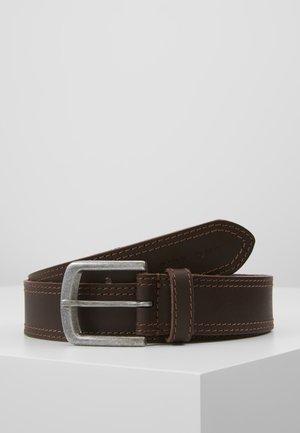 LEATHER - Belt - dark brown