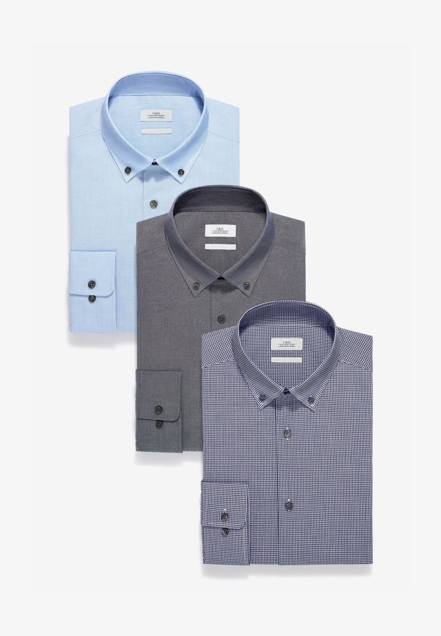 CHECK AND TEXTURE SHIRTS 3 PACK - Shirt - blue