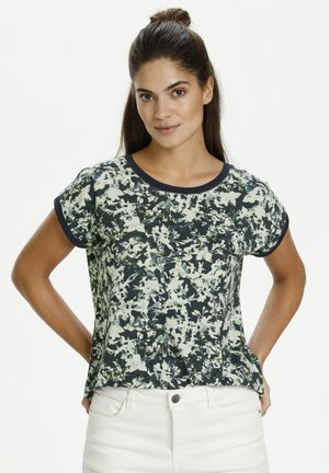 Print T-shirt - navy watercolor/flower print