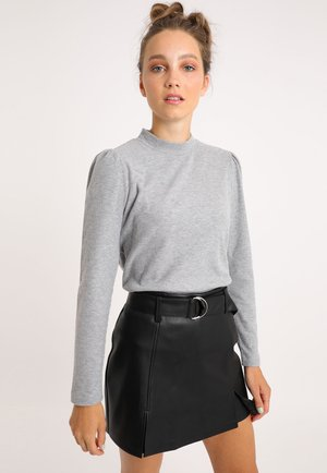 MIT PUFFÄRMELN - Long sleeved top - grau meliert