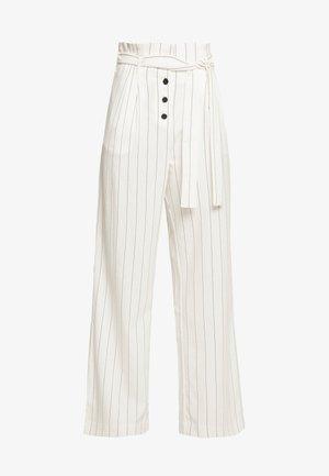 Pantalon classique - ecru/noir