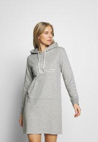 GANT - LOCK UP HOODIE DRESS - Day dress - grey melange - 0