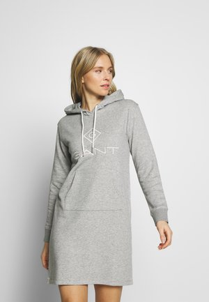 LOCK UP HOODIE DRESS - Denní šaty - grey melange