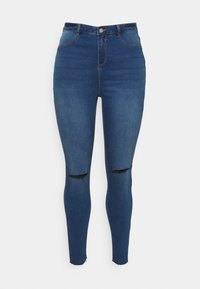 Missguided Plus - LAWLESS SLASH KNEE HIGHWAISTED - Jeans Skinny Fit - blue - 0