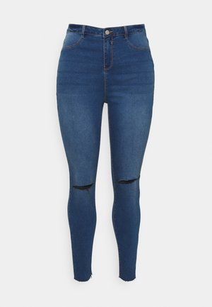 LAWLESS SLASH KNEE HIGHWAISTED - Jeans Skinny - blue