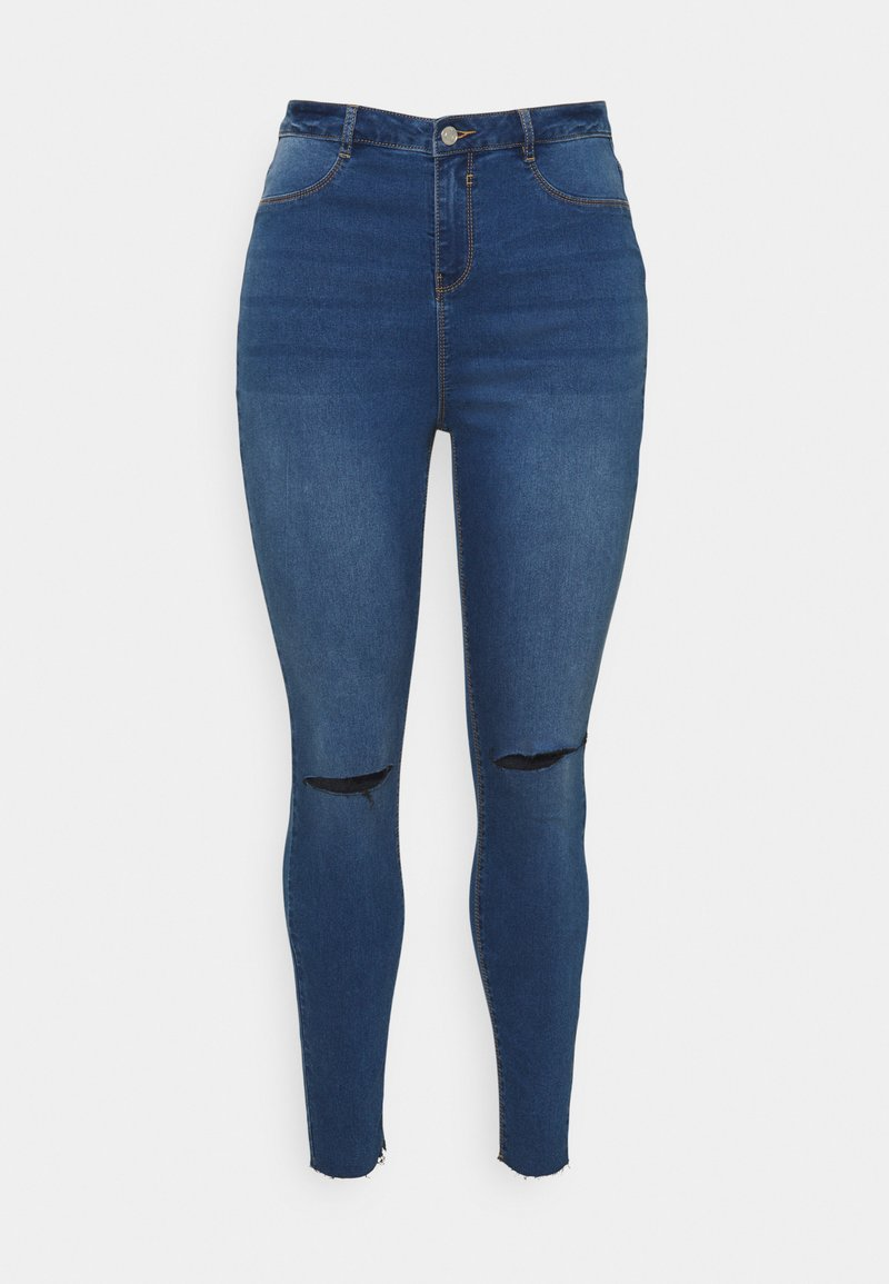 Missguided Plus - LAWLESS SLASH KNEE HIGHWAISTED - Jeans Skinny Fit - blue