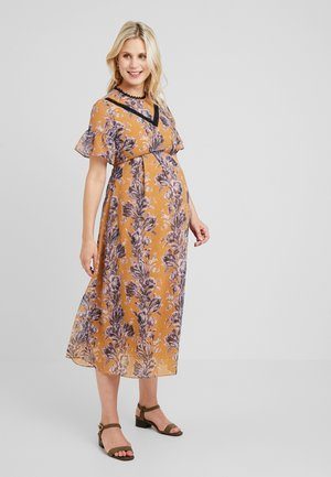 FLORAL SHORT SLEEVE DRESS - Maksimekko - orange