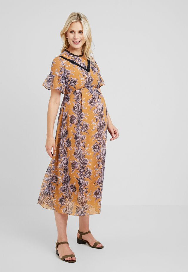 FLORAL SHORT SLEEVE DRESS - Vestido largo - orange