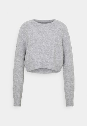 CABLE CROPPED CREW NECK - Strikkegenser - grey marle