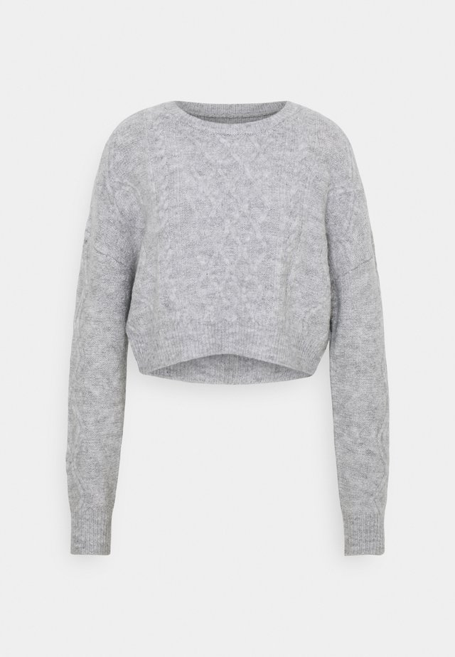 CABLE CROPPED CREW NECK - Jumper - grey marle