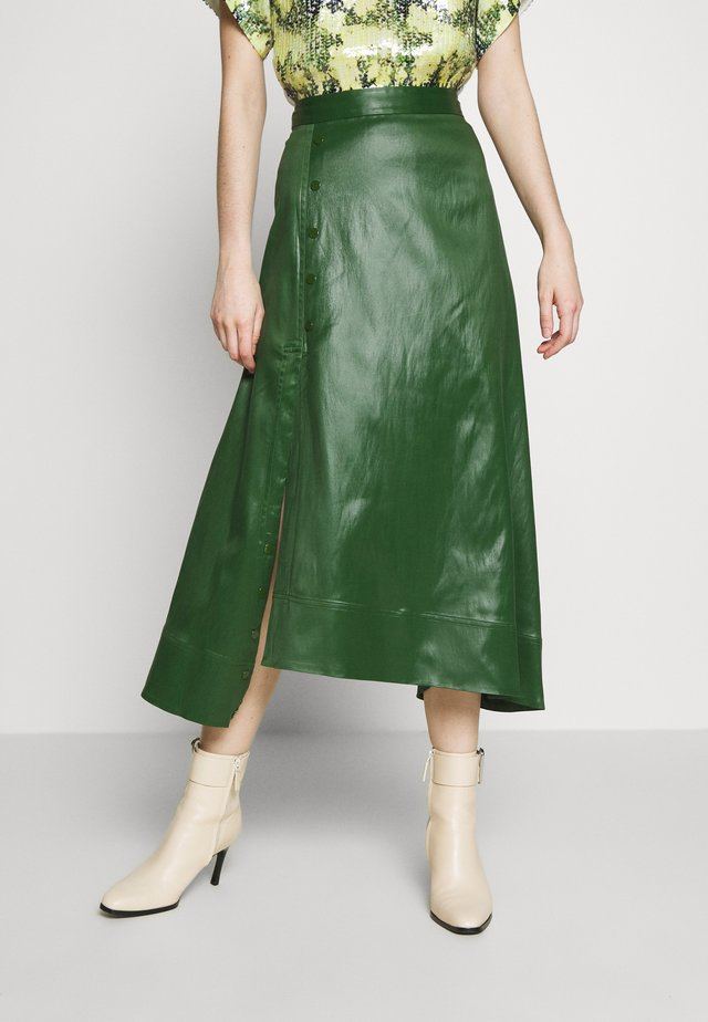 SKIRT WITH SIDE SNAP - Gonna a campana - vetiver green
