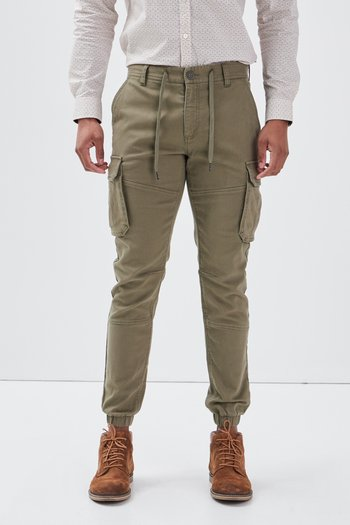 MIT TUNNELZUG IN DER TAILLE - Cargo trousers - vert kaki clair
