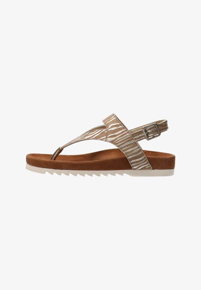 BEAR  - T-bar sandals - zebra beige silver