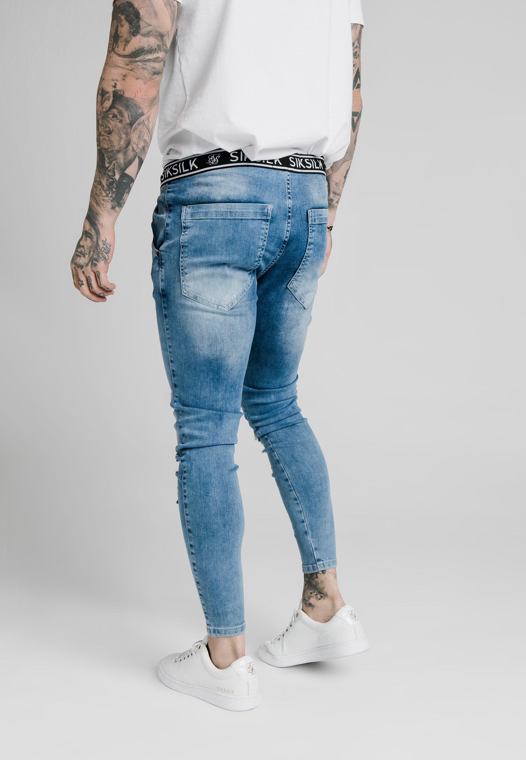 SIKSILK ELASTICATED WAIST DISTRESSED - Jeans Skinny - midstone blue