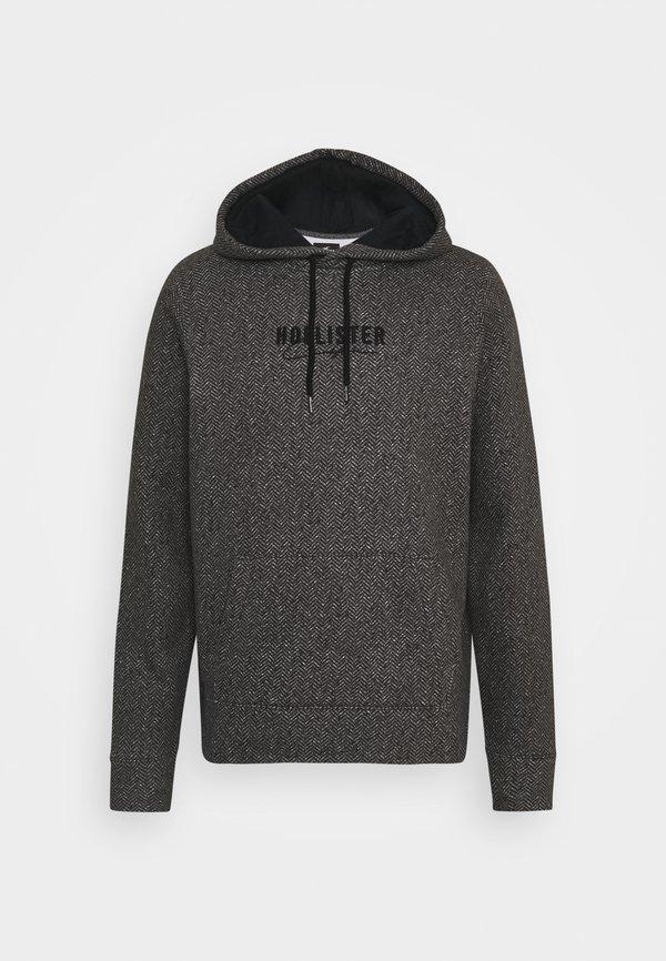 Hollister Co. TONAL TECH - Bluza z kapturem - black herringbone/czarny Odzież Męska MDYT