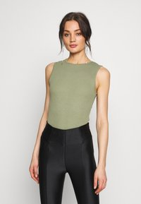 Missguided - SLEEVELESS BODYSUIT 2 PACK - Top - black/khaki - 2