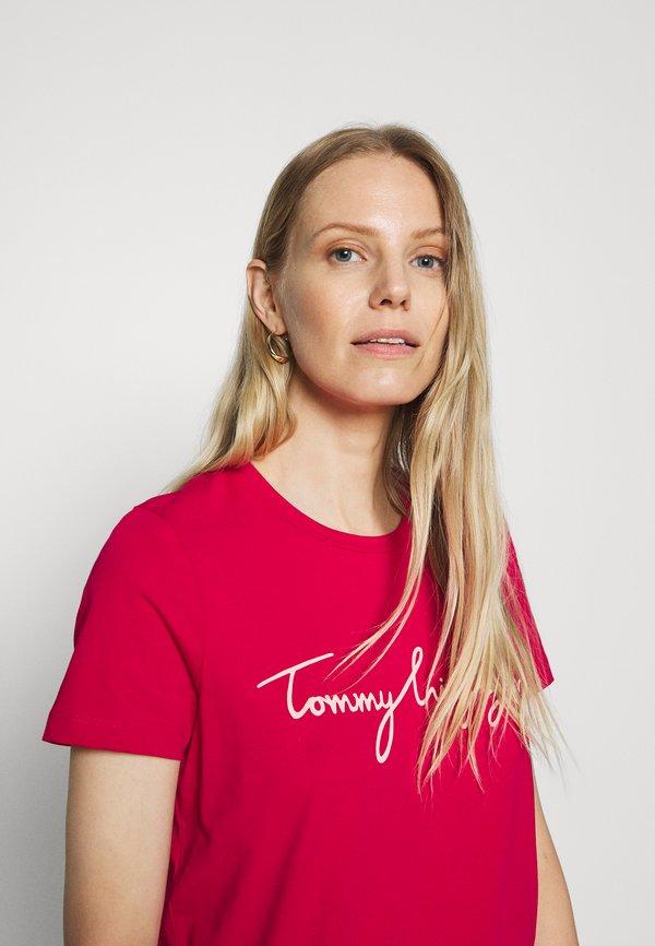 Tommy Hilfiger CREW NECK GRAPHIC TEE - T-shirt z nadrukiem - ruby jewel Nadruk Odzież Damska OKLK XQ 5