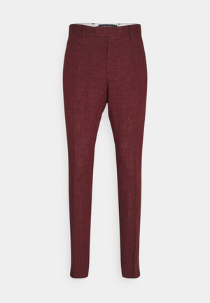 FORMAL TAILORED TROUSERS - Suit trousers - dark red