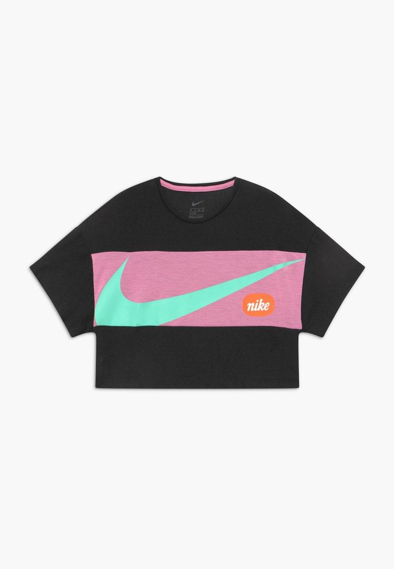 Nike Performance - T-shirt print - black/magic flamingo/emerald rise