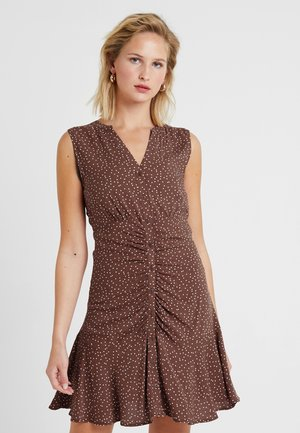 Day dress - brown patina/white