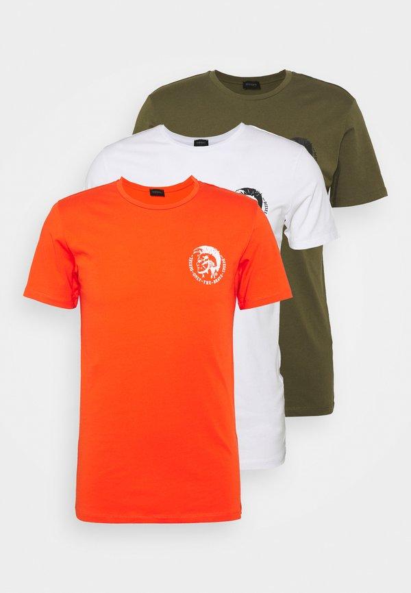 Diesel UMTEE RANDAL 3 PACK - T-shirt basic - olive/white/orange/oliwkowy Odzież Męska MZFA