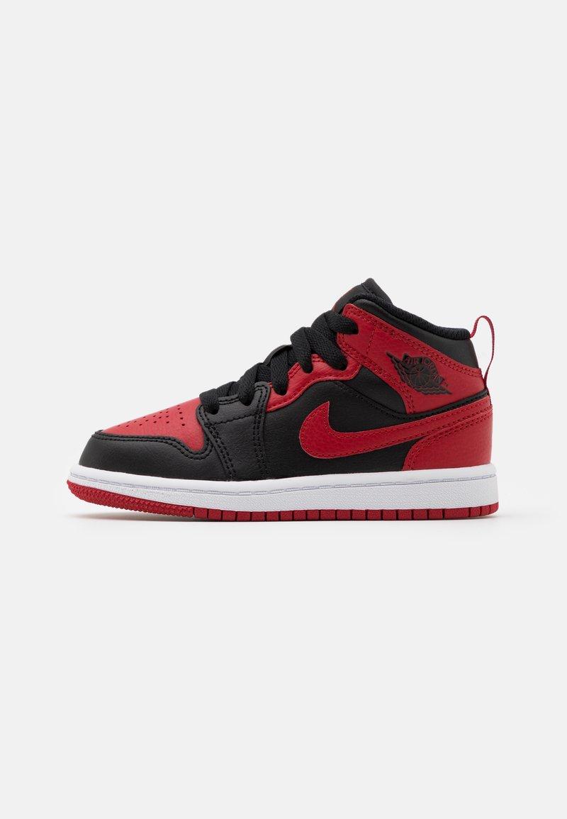 Jordan - 1 MID UNISEX - Basketball shoes - black/gym red/white