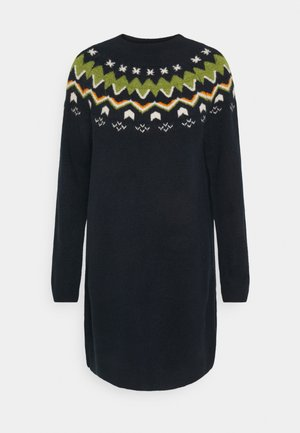 KNITTED FAIRISLE  - Jumper dress - real navy blue