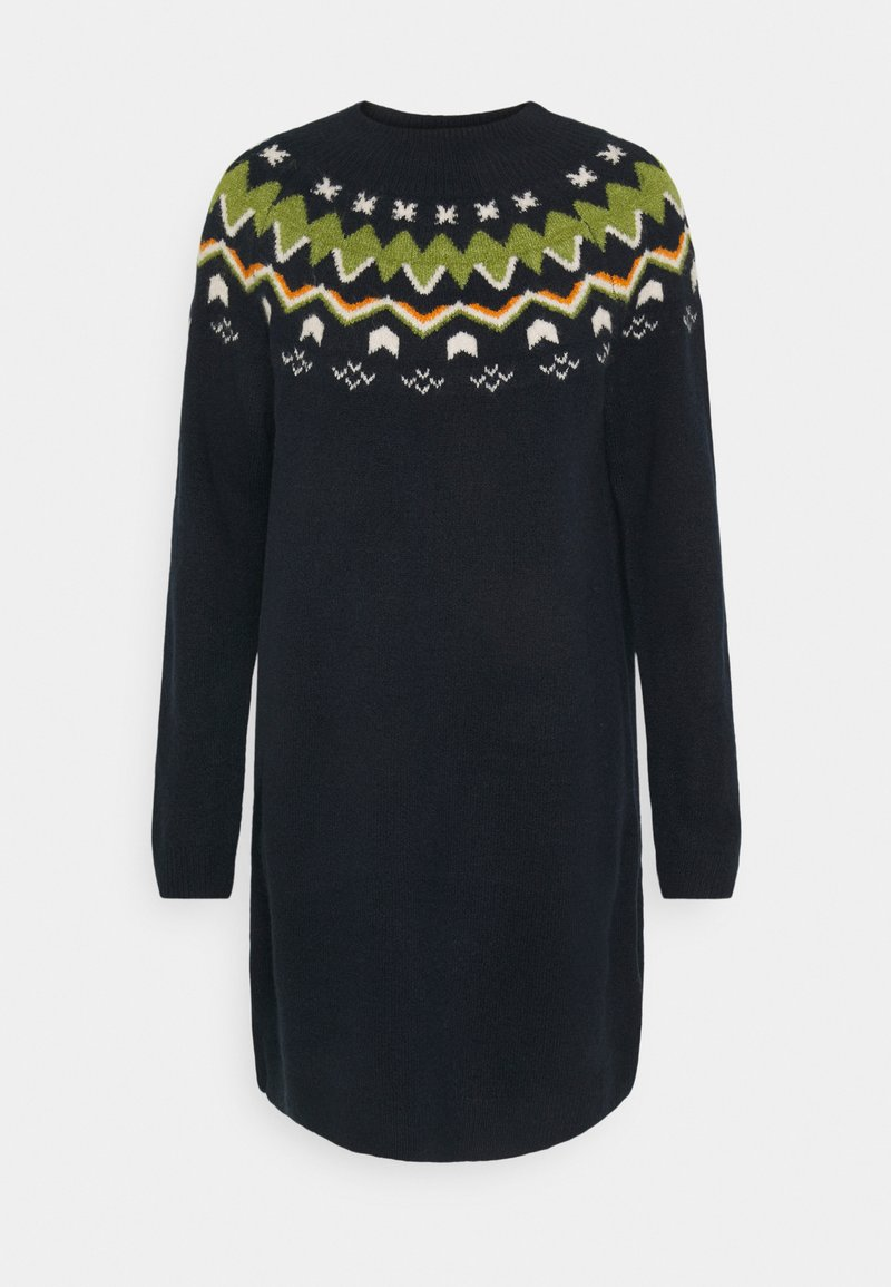 TOM TAILOR DENIM - KNITTED FAIRISLE  - Jumper dress - real navy blue