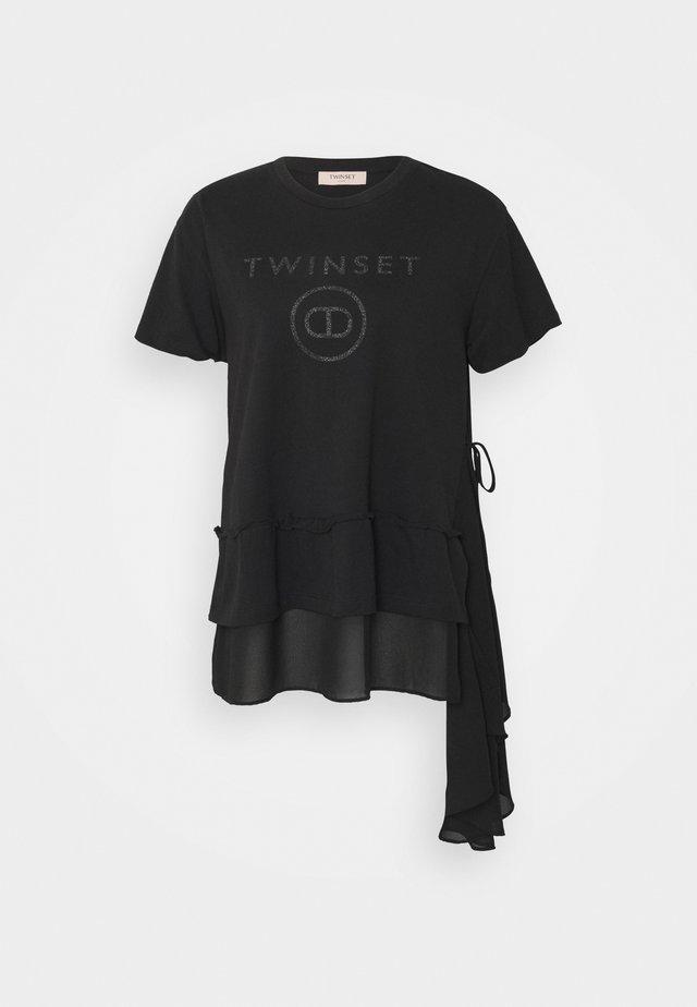 MAXI GEORGETTE STAMPA LOGO - Print T-shirt - nero