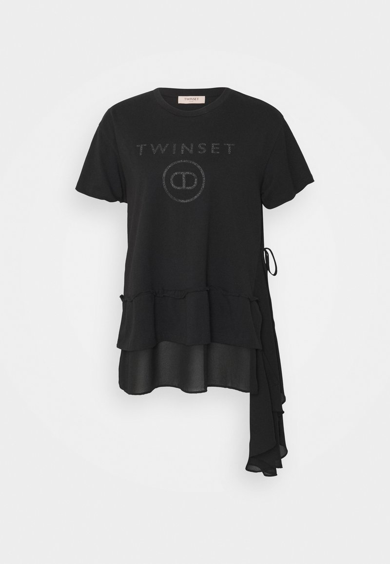 TWINSET - MAXI GEORGETTE STAMPA LOGO - T-shirts med print - nero