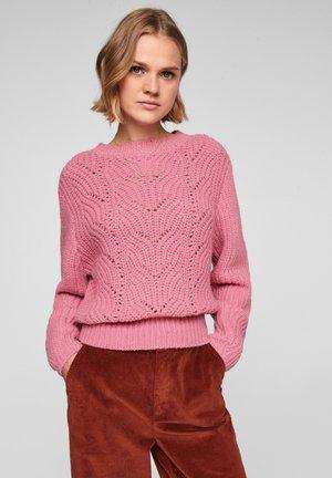 MET OPENGEWERKT GEBREID MOTIEF - Fleece trui - pink melange