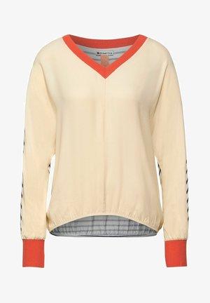 MIT V-AUSSCHNITT - Long sleeved top - beige