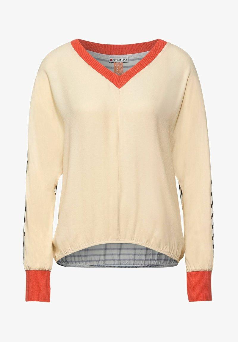 Street One - MIT V-AUSSCHNITT - Long sleeved top - beige