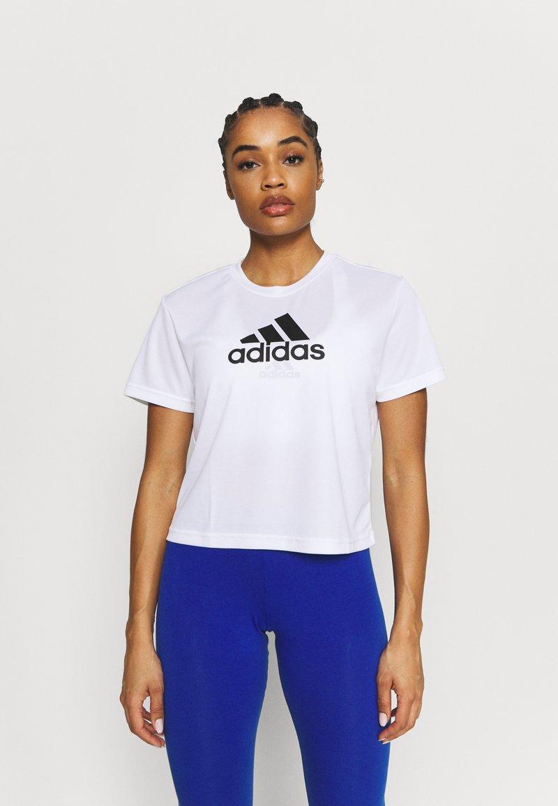 adidas Performance - Print T-shirt - white/black
