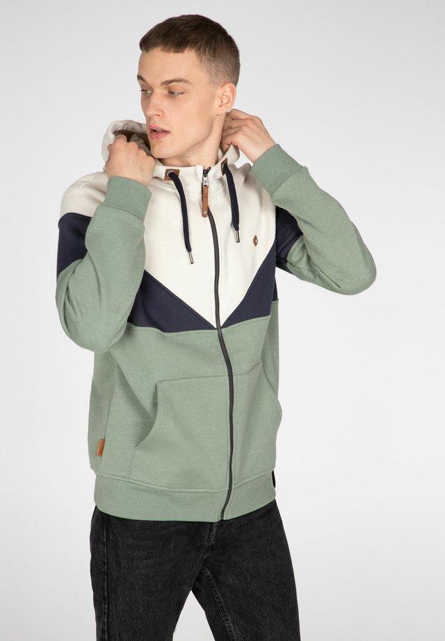 Zip-up hoodie - green spray