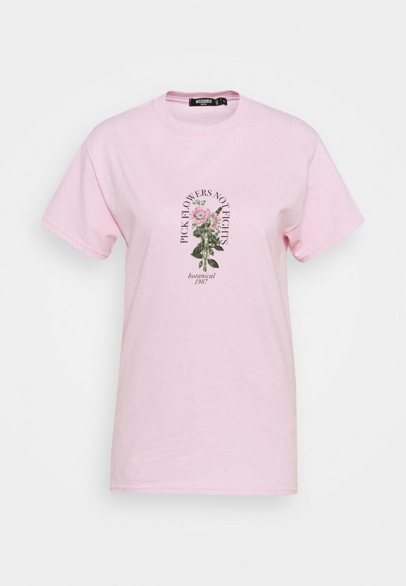 Missguided Petite - PICK FLOWERS NOT FIGHTS - Print T-shirt - baby pink