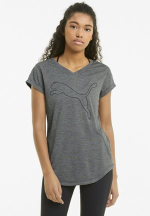 T-Shirt print - charcoal heather-puma cat