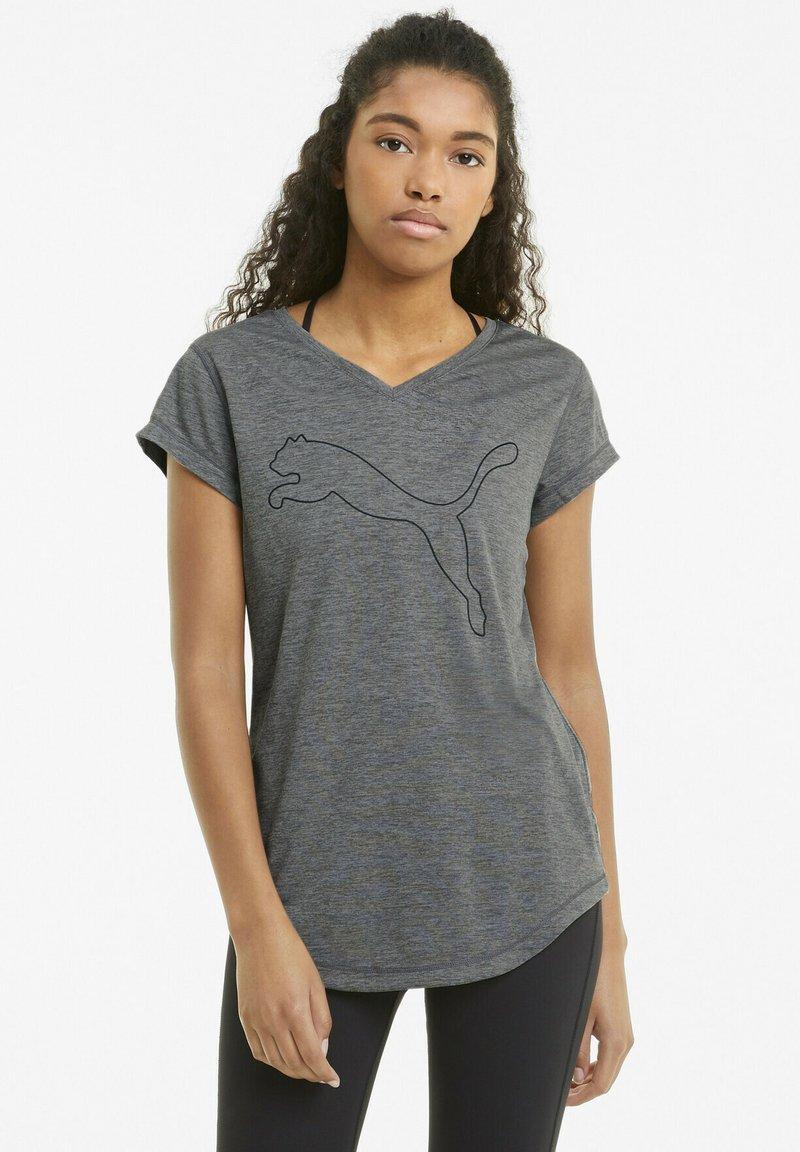 Puma - T-shirt de sport - charcoal heather-puma cat