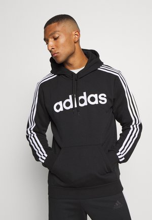 3 STRIPES ESSENTIALS SPORTS HOODED - Bluza z kapturem - black/white