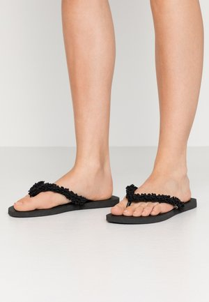 SLIM FRINGE - T-bar sandals - black