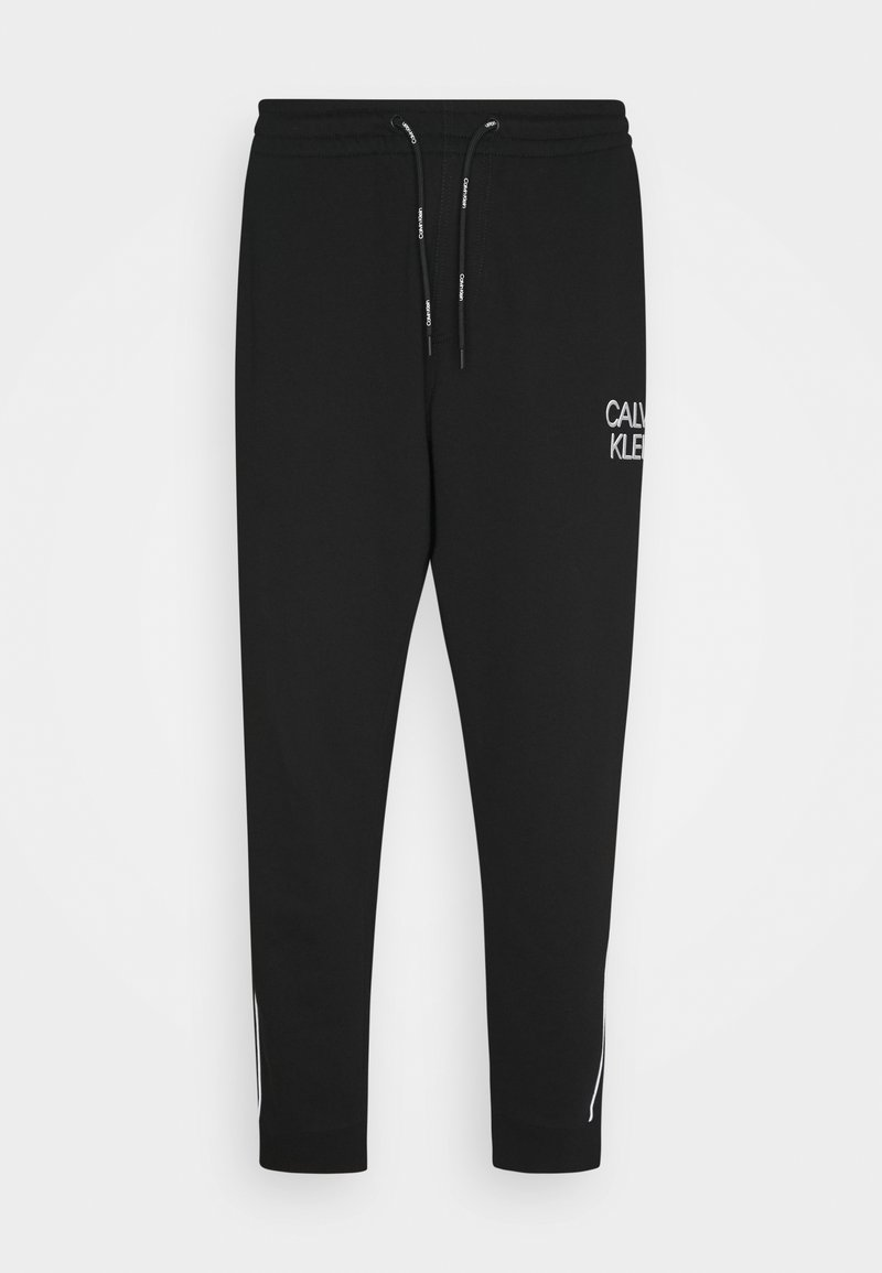 Calvin Klein - TWO TONE LOGO PANT - Tracksuit bottoms - black