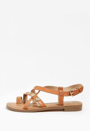 SANDALE BASSE GIORGIE CUIR - T-bar sandals - brown